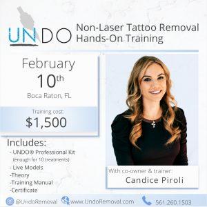 Boca Raton, FL: UNDO Non Laser Tattoo Removal Training with Candice Piroli